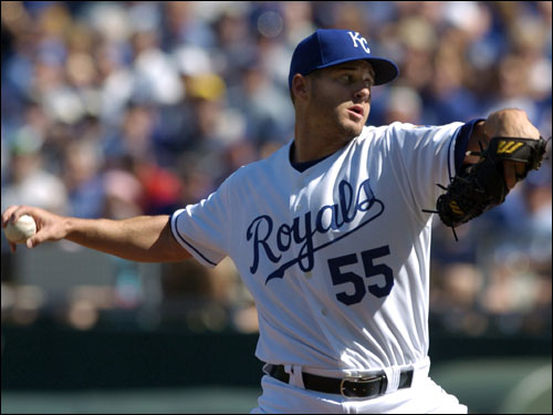 Gil Meche threw the first pitch of the 2007 season in the first inning of the Opening Day game against the Red Sox.