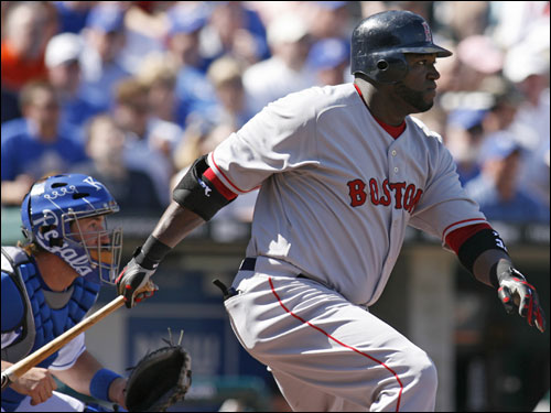 David Ortiz knocked in the Red Sox' first run of the season on a double in the first inning.