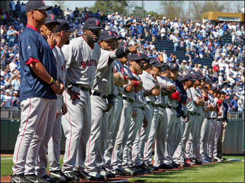 The Red Sox lined up for pregame introductions.