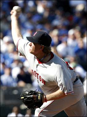 Curt Schilling threw a pitch in the third inning.