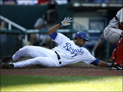 Tony Pena, Jr. slid safely into home in the fourth inning.
