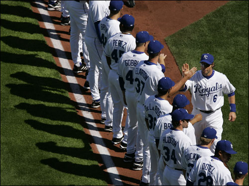 The Royals lined up during introductions.