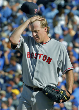 Curt Schilling lowered his head after giving up three runs in the fourth.