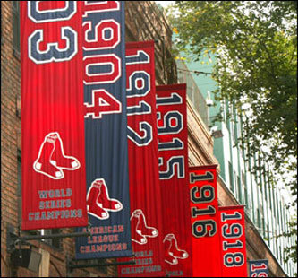 For Sox fans new to Fenway Park, allow us to take you on a tour of this lively and historic ballpark. Nearly a century of banners grace the facade of Fenway Park above Yawkey Way, including the first Red Sox World Series Championship banner in 1903.