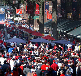 It's game time and the celebration starts on Fenway's historic Yawkey Way The street is closed off to traffic three hours before the game begins, and reopens to ticketed Red Sox game patrons once the ballpark officially opens.