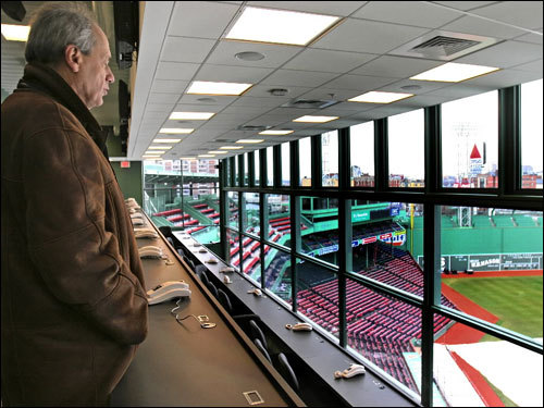 Red Sox president and CEO Larry Lucchino got a view of the ballpark from the newly expanded press box at Fenway Park, Wednesday.