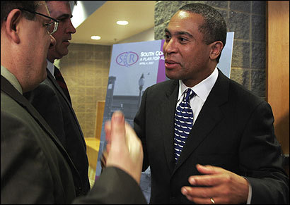 Governor Deval Patrick appeared at a press conference yesterday in North Dartmouth to announce plans to build a commuter rail line servin