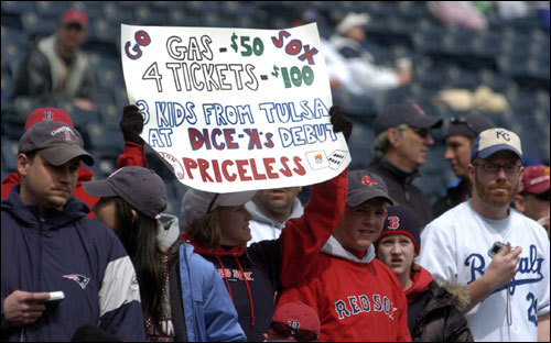 A Red Sox fan held a sign that mimicked the MasterCard television ads.