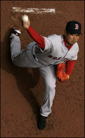Dice-K warmed up in the bullpen before his start.