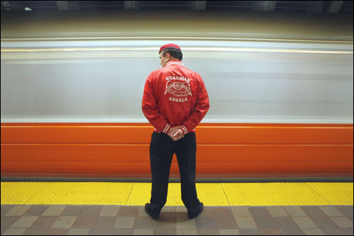 Long in the public eye, Guardian Angels founder Curtis Sliwa patrolled the Orange Line Friday. In an interview, Sliwa seemed almost surprised by the pockets of support he has gotten.