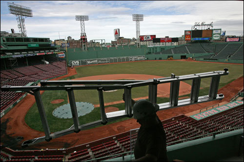 Fenway Park was filled with workers getting the stadium ready on Friday, as opening day approached.