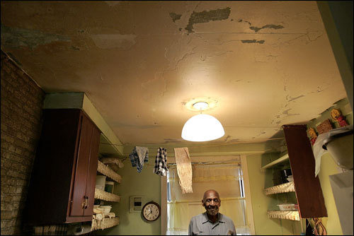 Russel Ruffin has lived in the Boston Housing Authority development on Washington Street for 40 years. The sink dates to the 1940s and the ceiling needs constant repairs. The BHA is borrowing $80 million to rehab the city's housing projects. This one is scheduled to be leveled and rebuilt.