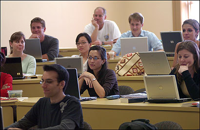 Law students took notes using laptop computers in a class on evidence at Regent University. The school, below, which was founded by televangelist Pat Robertson, is in Virginia Beach, Va.