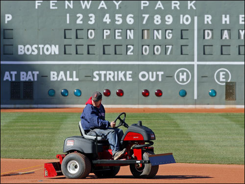 Workers were out in force Monday afternoon getting Fenway Park ready for Tuesday afternoon's Opening Day game vs. the Seattle Mariners.