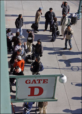 Members from the Japanese media were gathered outside Gate D on Yawkey Way on Monday.