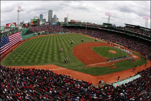 An aerial view of the Fenway Park as the lineups from both teams were introduced in Boston's 2007 home opener.