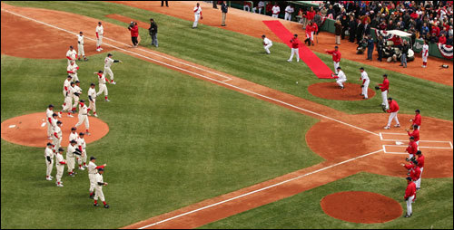 Members of the 1967 Red Sox threw out ceremonial first pitches.