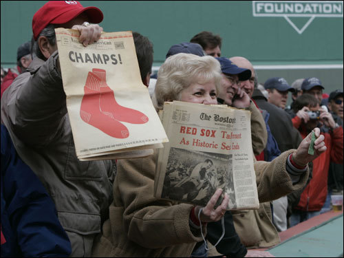 Red Sox fans watched as the 1967 championship team members took the field before the start of the game.