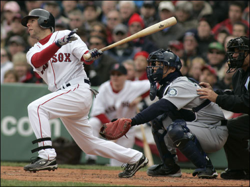 He'd been here before, but this was Dustin Pedroia's first Opening Day at Fenway. Boston's offense scored four runs in the first inning and gave Pedroia a chance to bat.