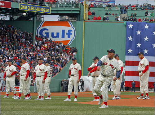 The 1967 Red Sox threw the ceremonial first pitch.