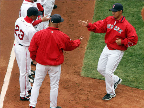 Dice-K greeted Manager Terry Francona and the rest of his Red Sox teammates during introductions.