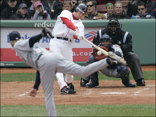 J.D. Drew drove home a run on a sacrifice fly with the bases loaded.