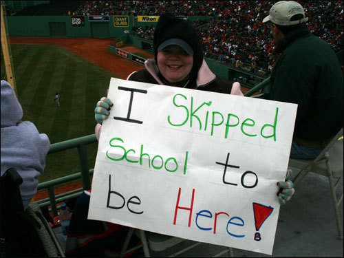 Catie Wilson of Concord, N.H. might catch some grief from her teachers for this one...