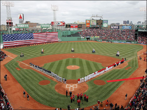 A shot of Fenway during the singing of 'God Bless America.'