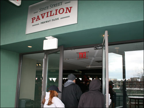 Those fortunate enough sought warmth in the State Street Pavilion.