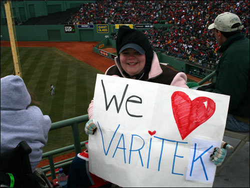 ... But Catie wanted to see Jason Varitek. And he responded with a hit shortly after she raised her sign.