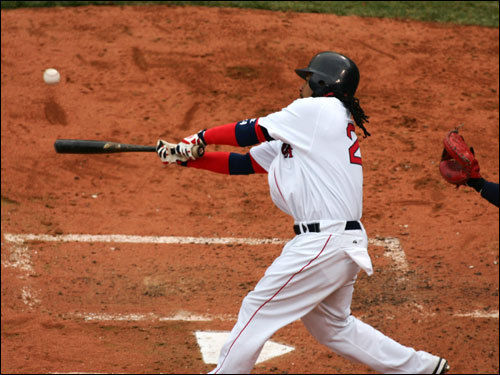 Manny Ramirez lines a pitch back up the middle.