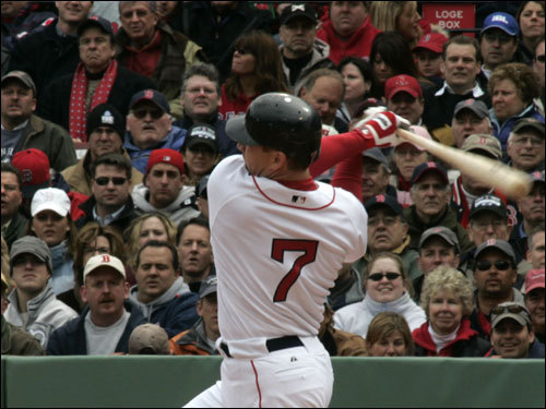 J.D. Drew took a swing in his first at bat for the Red Sox at Fenway Park.