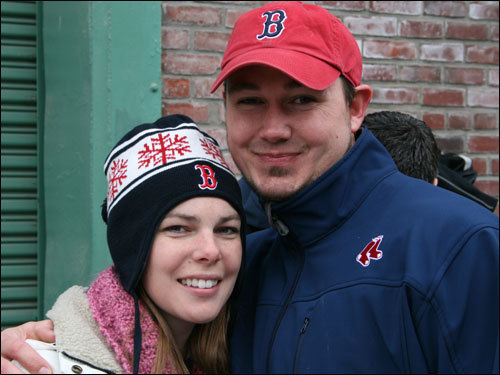 This happy couple traveled all the way from Nevada to see the Sox opener and paid a hefty ransom to sit in the Monster Seats. Tyler popped the question to Amy in the first inning and, in the third inning, a message appeared on the scoreboard alerting the entire crowd that she said, 'Yes.' Check out our pregame video for more on this couple and others that skipped work or school to be at the game.