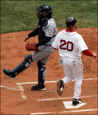 Kevin Youkilis scored the team's second run of the day in the first inning.