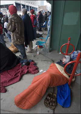 Red Sox fans camped out hoping to score tickets to Tuesday's home opener.