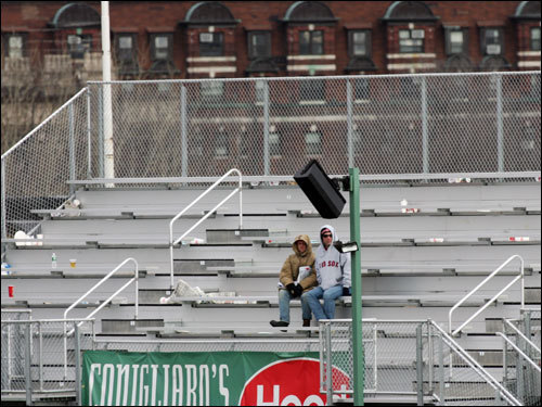 Only a pair of fans remained in Conigliaro's Corner in the eighth inning.
