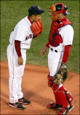 Jason Varitek visited Dice-K on the mound after the Sox pitcher ran into a second-inning jam.