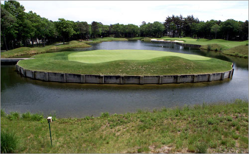 6. 17th hole at The Ridge Club in Sandwich Bobby Orr, who revolutionized the game of hockey, says this par 3 is where he plays most of his golf. The hole plays from 80 to 150 yards. Orr says 'It's a huge green and you're only hitting an easy 8- or hard 9-iron, but you don't know which way the wind is blowing and it's all over the water.' His recommendation: Unless the wind is howling, use an 8- or 9-iron and just aim for the center of the green.