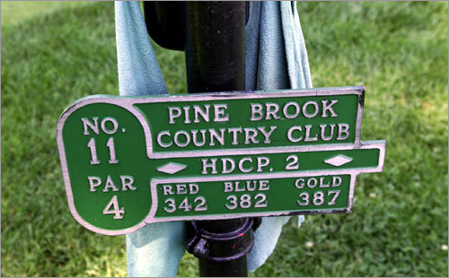18. 11th hole at Pine Brook Country Club in Weston Bob Crowley, five-time winner of the New England PGA Championship, says this par 4 presents a challenge if you play aggressively, but it also offers a distinct method of attack for the player choosing to be conservative. The hole plays anywhere from 342 to 386 yards. Crowley says that once you get around the corner, the last 110 yards or so are uphill to a well-bunkered green. His recommendation: If you want to take the truly daring route, use 'a driver up and over the corner, with a hook to set up a wedge second shot. But beware those of you hitting driver, because if you don't hook it, good luck.'