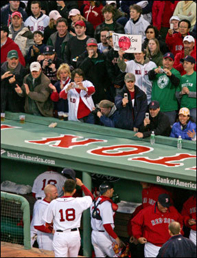 Matsuzaka received a standing ovation from the Fenway faithful after retiring the side in the first inning.