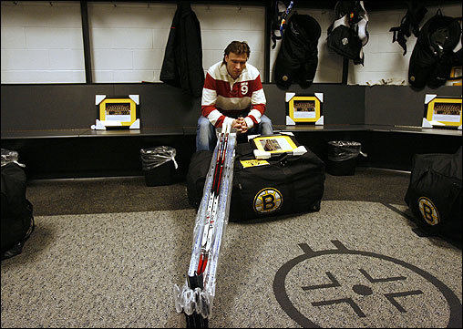 Boston Bruins right wing Petr Tenkrat sat in the team locker room before leaving for the end of the season. The team had a disappointing season as they finished with an NHL-low 56 points.