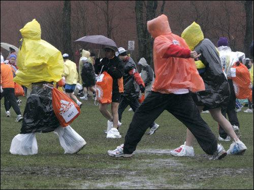 Runners headed for the start line in Hopkinton.