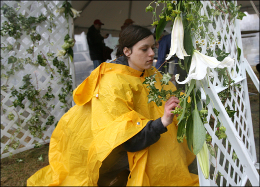 Sara Gillis decorated a tent at the top of Heartbreak Hill in preparation for the wedding of Pattiann McAdams and Aaron Russell during the Boston Marathon. The couple got engaged at the finish line of the 2006 New York Marathon and planned to get married this morning after climbing Heartbreak Hill.