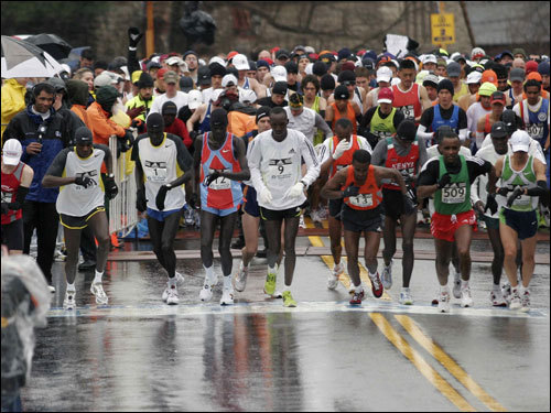 The elite male runners left the starting line of the 111th Boston Marathon.