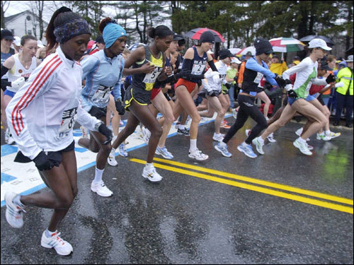 The elite women departed from the starting line of the 111th Boston Marathon in Hopkinton.