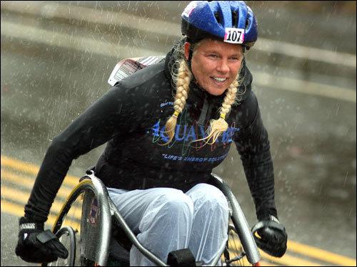 A wheelchair marathoner passed through Ashland.