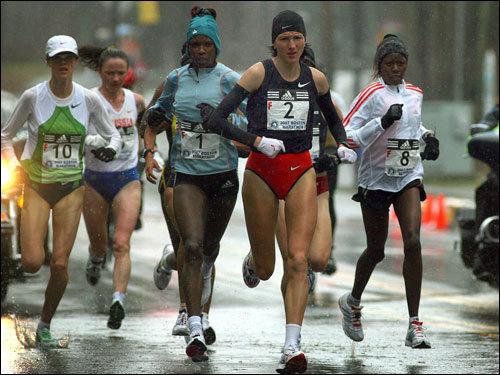 The Boston Marathon passed through Ashland as the elite women runners headed down Union Street.