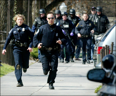 On Monday, a gunman opened fire in a Virginia Tech dorm and, two hours later, shot up a classroom across campus, killing 32 people in the deadliest shooting rampage in US history. The gunman committed suicide, bringing the death toll to 33. At left, law enforcement officers ran on the campus.
