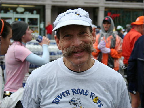 Jay Satenstein, 60, from New York finishes 'something like his 15th' Boston Marathon, and says 'sorry if I look like hell.'