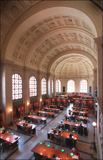 "Bates Room, Boston Public Library This reading room remains one of the most significant spaces in the Boston Public Library. Named in honor of its benefactor, Joshua Bates, the room is 218 feet long, 42.5 feet wide, 50 feet high, and lighted by 15 arched and grilled windows. In a letter to the Boston mayor, Bates wrote: ""'The building shall be such as to be an ornament to the City, that there shall be a room for one hundred to one hundred and fifty persons to sit at reading tables, and that it be perfectly free to all.' Thanks to the creativity and architectural skills of Charles Follen McKim, the Bates Room houses a magnificent barrel-arched ceiling, English oak bookcases, and an ornately carved limestone balcony."